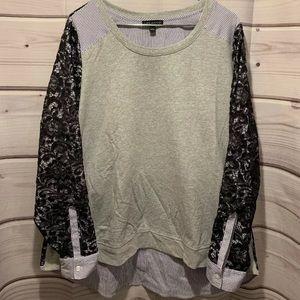 Lane Bryant 1X 18/20W gray navy lace shirt 097a